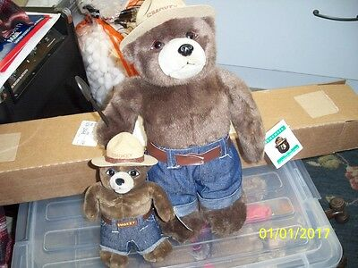 Two 50 year SMOKEY THE BEARS 1994 8 inch and 15 inch with tags