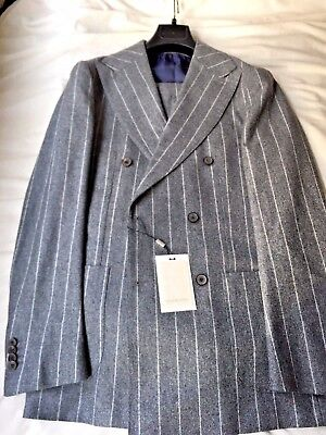 NWT Suitsupply JORT Grey Pinstripe 100% Wool S140s DB Suit - Size 38L