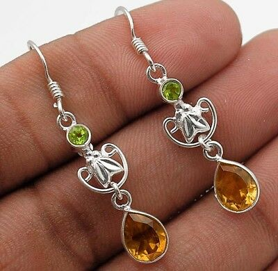 "Citrine 925 Solid Sterling Silver Earrings Jewelry 1 2/3"" Long"