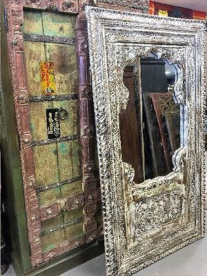 Antique INDIA Jharokha HUGE Floor Mirror DISTRESSED Hand Carved ARCHED WINDOW 74