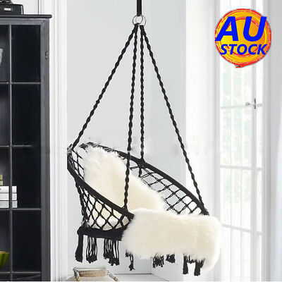 AU Macrame Hammock Woven Rope Swing Seat Chair Hanging Relax Outdoor Home Garden