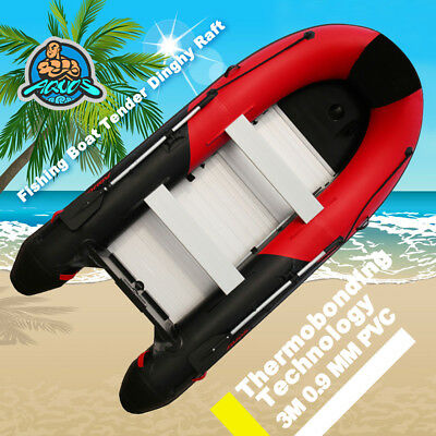3m 0.9mm PVC Inflatable Boat Fishing Boat Tender Dinghy Raft  Red Black Color