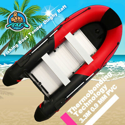 3.3m 0.9mm PVC Inflatable Boat Fishing Boat Tender Dinghy Raft  Red Black color