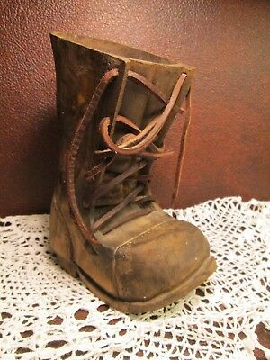 Primitive Rustic Hand Carved Wooden Shoe Boot Signed Roy Abercrombie