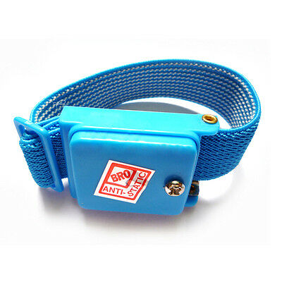 Anti Static Cordless Bracelet ESD Discharge Cable Wrist Strap Cool Blue GH