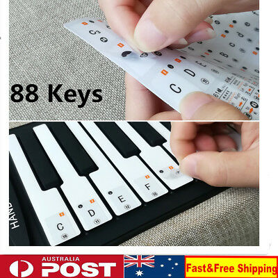 Keyboard / Piano Stickers SET up to 88 KEYS the best way to learn Piano clear KD