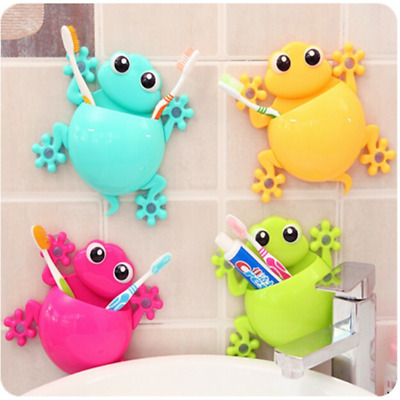 1 PC Animal Frog Silicone Toothbrush Holder Family Wall Bathroom Hanger Suction