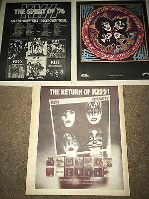 Vintage 3 Lot Kiss Album Tour Schedule ADvertise PINUP POSTER Dynasty Destroyer