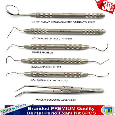 6X Dental Student Basic Examination Set Perio Probes UNC 15 Nabers Tweezers Lab