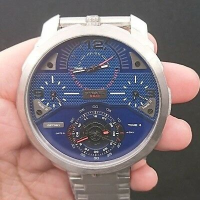 New Old Stock DIESEL Machinus DZ7361 Stainless Steel 4 TimeZone Quartz Men Watch