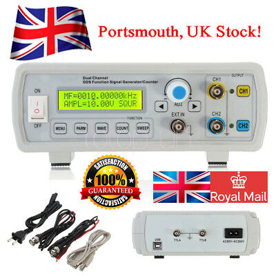 2MHz Dual Channel DDS Function Signal Generator Wave Sweep & Counter UK Fast