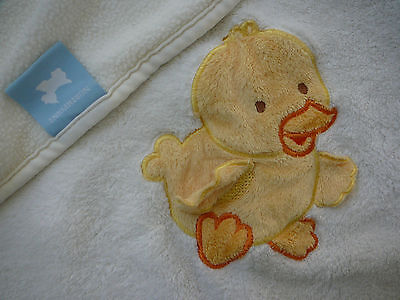 Northpoint White Fleece Baby Blanket with appliquéd Duck Ducky Duckie