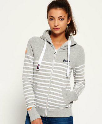New Womens Superdry Sun \u0026 Surf Zip Hoodie Grey Marl