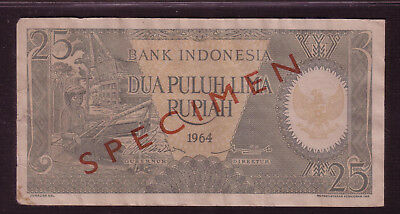 Vf Specimen Indonesia 25 Rupiah 1964 Bills, Notes, Money, & Currency