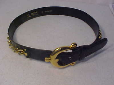 "VINTAGE West Germany Size 38-Eur 28""Waist-US ESCADA Navy Women's Belt /Gold Tone"