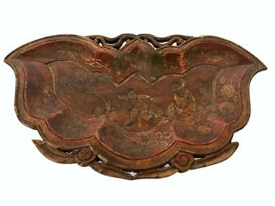 Chinese Antique Carved Wooden Tray Chinoiserie Design Butterfly