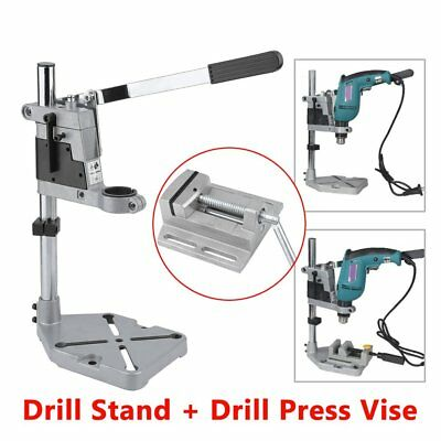 Precision Drill Stand And Manual 2.5 Inch Bench Vise Table Flat Clamp-On Plier B