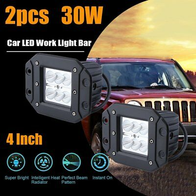 2x 4 inch 30W 6LED Flood Work Light Flush Mount Bar Fog Driving Lamp Offroad