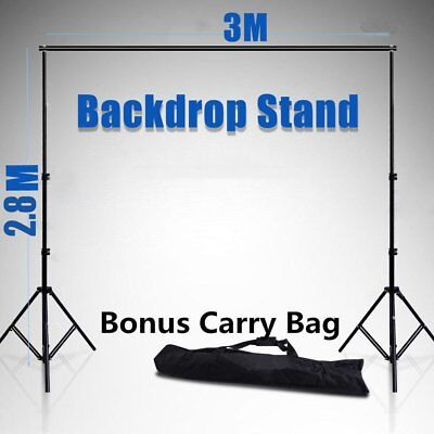 2.8x3m Adjustable Photography Photo Studio Backdrop Support Stand Kit W/ Bag