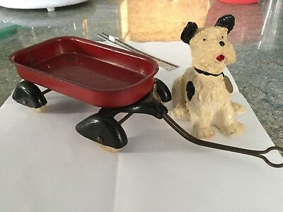 Cast Iron antique, American Break Block Mascot Dog and Wagon
