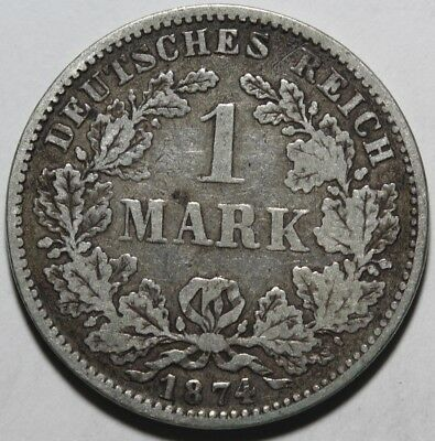 1874 D German 1 One Mark Silver