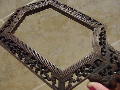 Antique Chinese Carved Rosewood Hand Mirror Frame