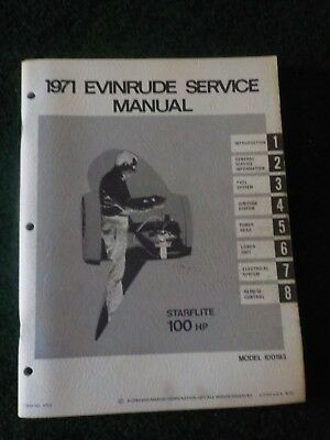 1971 OMC Evinrude Outboard Service Repair Shop Manual 10 HP Starflite 100193