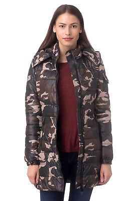 MONTE CERVINO Size S Camo Padded Longline Quilted Jacket With Detachable Hood