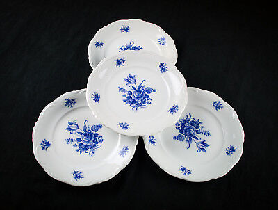 Mitterteich Meissen Blue Salad Plates 4pc Set, Bavaria Germany Porcelain Floral