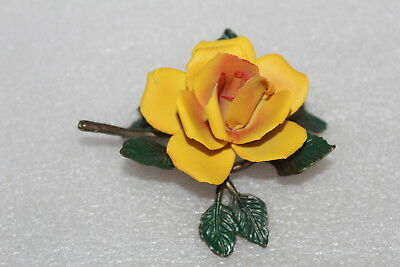 Vintage Capodimonte Porcelain Yellow Rose On Metal Leaves Ornament
