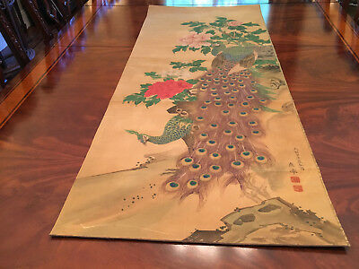 A Large and Important Antique Japanese Painting on Silk, Signed.