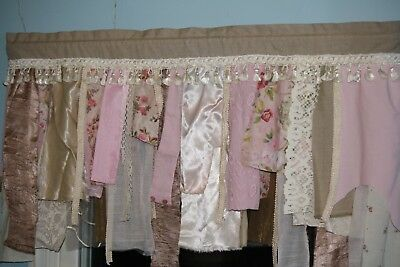 Shabby Chic Romantic French Country Curtain Valance Lace Ribbon Garland