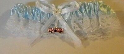 Wedding Reception Ceremony Firefighter Fireman Red Fire Truck Satin Garter Blue