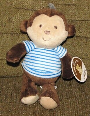 Carters Child of Mine Plush Brown Monkey Rattle Blue Stripe Shirt Baby Lovey NEW