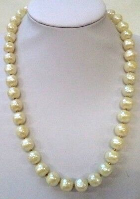 "Stunning Vintage Estate Signed Crown Trifari Faux Pearl Bead 23"" Necklace! 9362S"