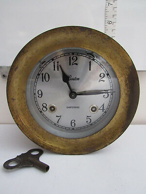 Vintage Boston Shipstrike Nautical Chelsea Clock USA Brass With Key