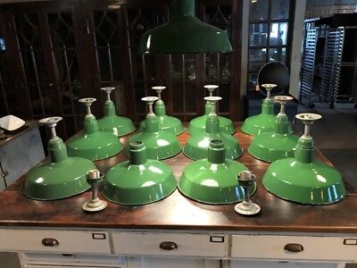 "Lot of 12 Vintage 16"" Abolite Green Porcelain Enamel Barn Light Fixtures"