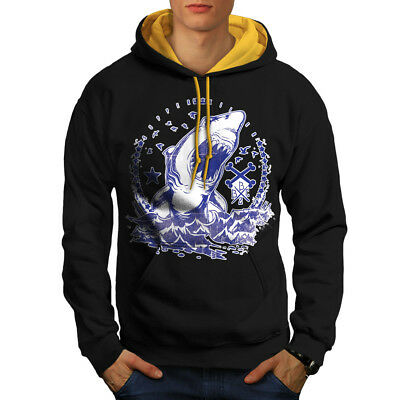 Killer Shark Art Vintage Men Contrast Hoodie S-2XL NEW | Wellcoda