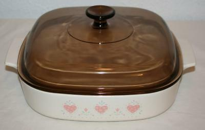 CORNING WARE 2.5L Casserole Square Pyrex Lid FOREVER YOURS Pink Hearts A-10-B