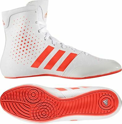 Adidas KO Legend 16.2 Boxing Boots Mens White & Red Sports Shoes Trainers