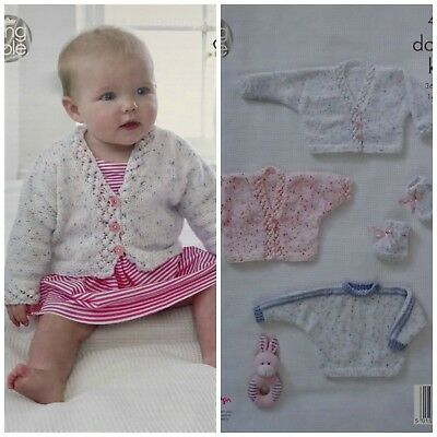 KNITTING PATTERN Baby's Batwing Cardigans and Jumper Smarty DK King Cole 4877