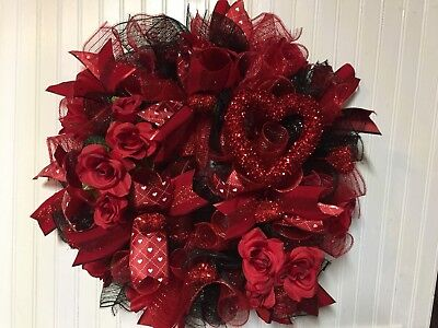 Valentine S Day Heart Wreath Red White Pink 3 99 Picclick