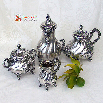 Ornate Baroque Tea and Coffee 4 Piece Set Germany 1890