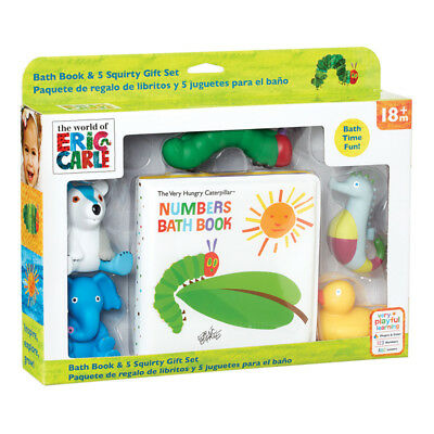 The World of Eric Carle Hungry Caterpillar Bath Book & 5 Squirties Gift Set NEW