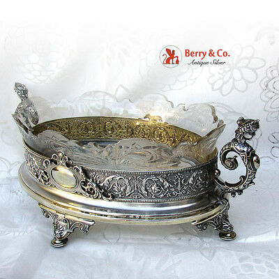 Wheel and Brilliant Cut Glass Silver Gilt Caryatid Center Bowl Bruckmann 1890