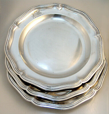 French Sterling Silver Plates Louis XV Period Paris 1736