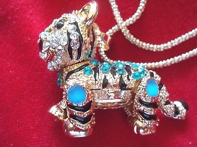 Betsey Johnson Bling Shiny Blue Crystal And Enamel Tiger Pendant/chain-New-3D