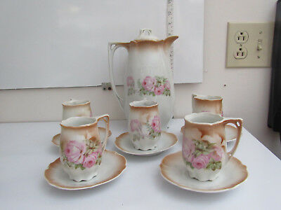 Antique Vintage Chocolate Tea Set From Germany Rose Floral Pattern