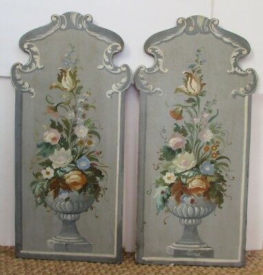 Antique Pair of Baroque Italian Hand Painted Wood Panels Plaques Paintings 33x16