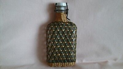 Vintage French Art Deco Very Rare Small Glass Wicker Bottle With Porcelain Lid.
